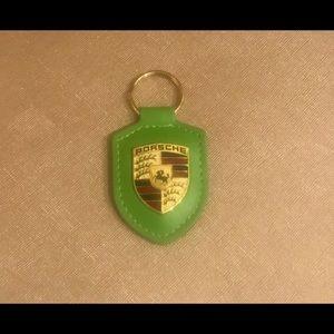 Authentic Porsche Green Leather Crest Key Chain